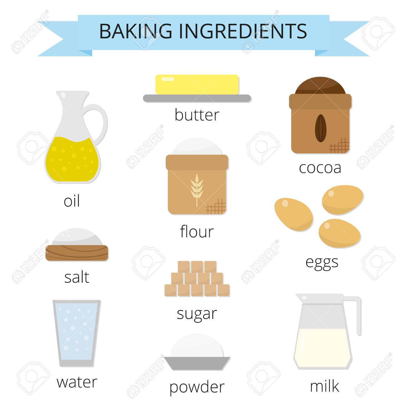 Backzutaten Eingestellt. Brauner Zucker, Butter, Milch, Eier, Mehl.