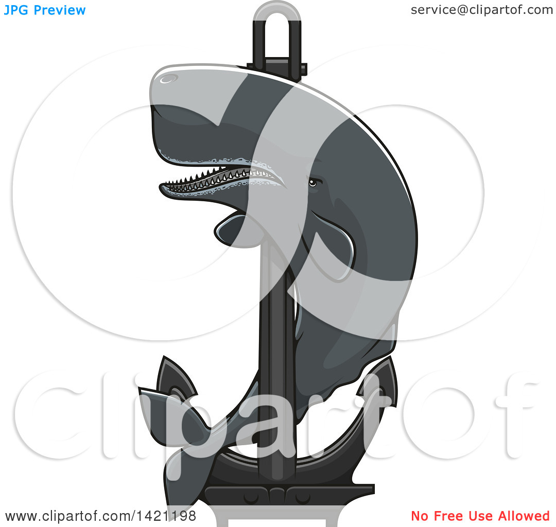 Clipart of a Cachalot Whale Swimming Around a Nautical Anchor.