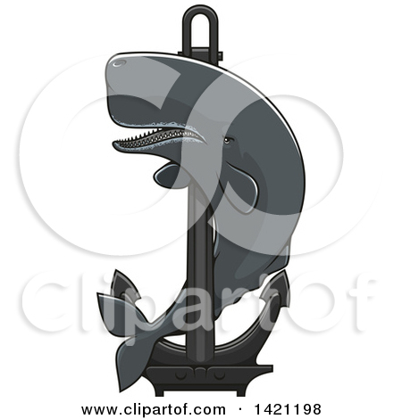 Clipart of a Cartoon Happy Humpback Whale.