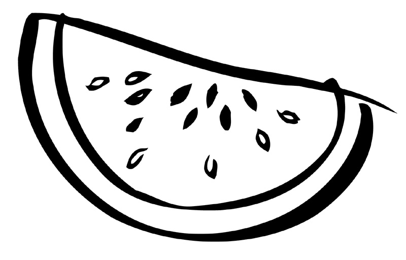 watermelon black and white clipart