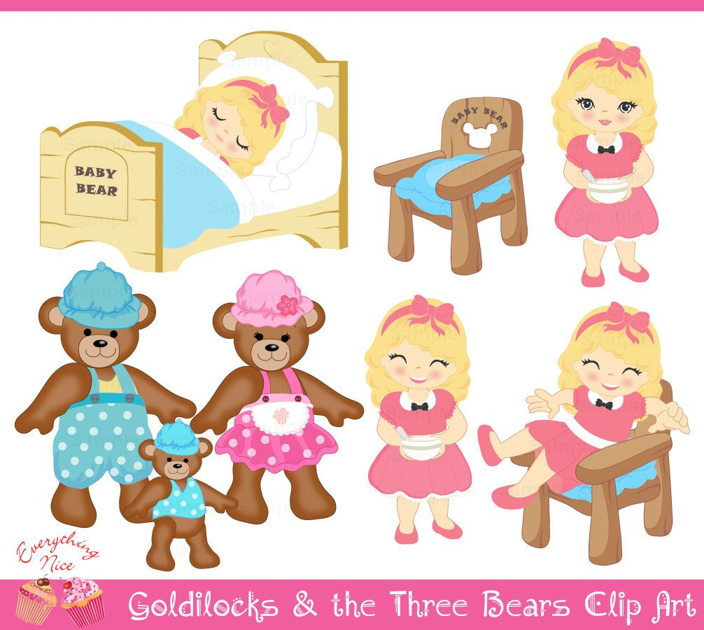 Goldilocks and the Three Bears Clip Art Set.