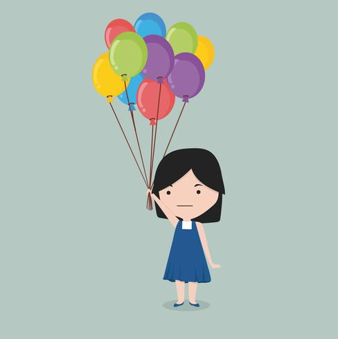 small girl holding balloon.