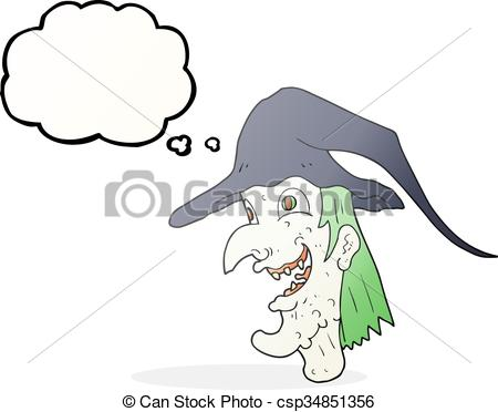 Clipart Vector of thought bubble cartoon cackling witch.