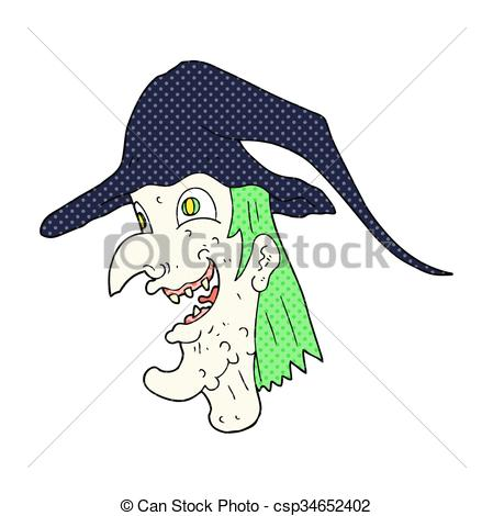 Vector Clipart of cartoon cackling witch.