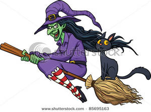 Cackling Witch Riding Her Broomstick with Her Cat.