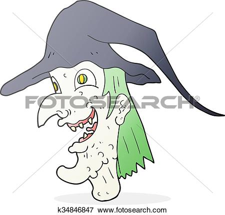 Clip Art of cartoon cackling witch k34846847.