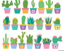 Sad cute cactus clipart.