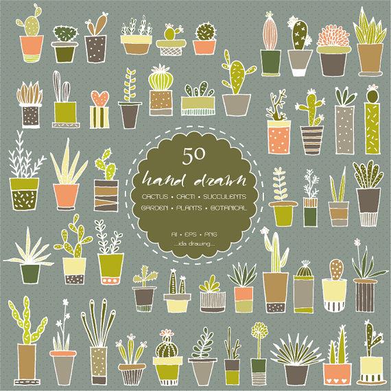 50 Hand Drawn Cactus Digital Clip Art Succulents Cacti.