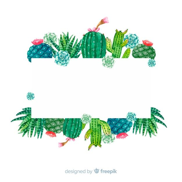 Cactus banner template Free Vector.