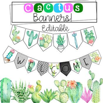 Editable Cactus Banner.