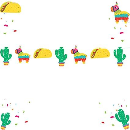 LaVenty Llama Banner Fiesta Garland Llama Party Birthday Decorations Llama  Fiesta Cactus Party.
