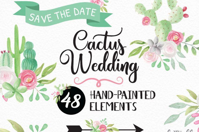 Watercolour Wedding Cactus Clipart.