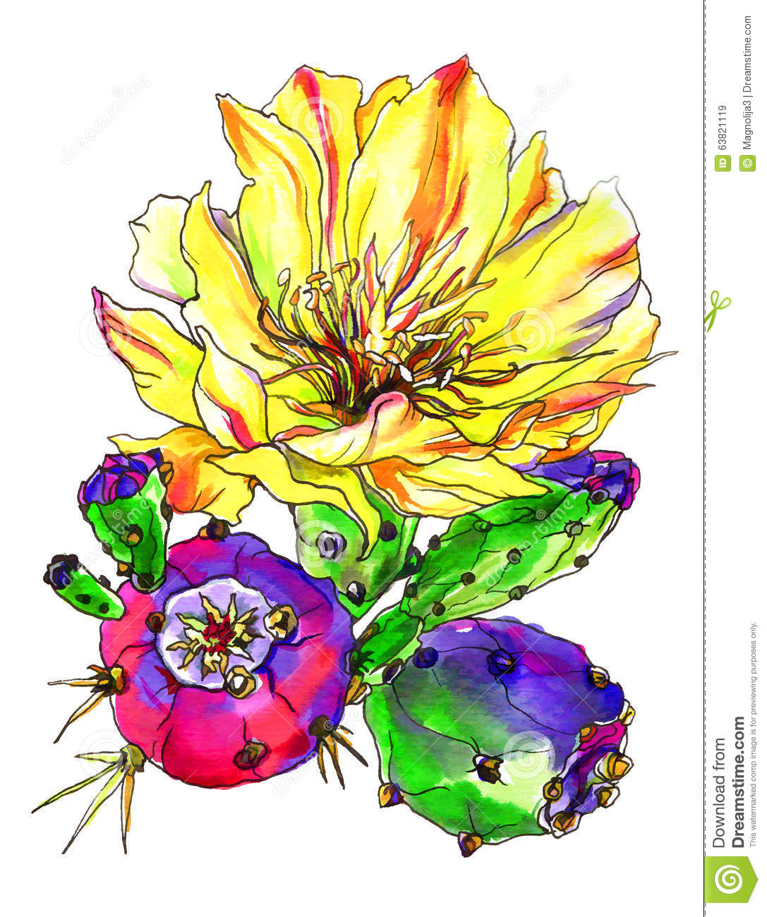 Decorative Yellow Cactus In Blossom Stock Illustration.