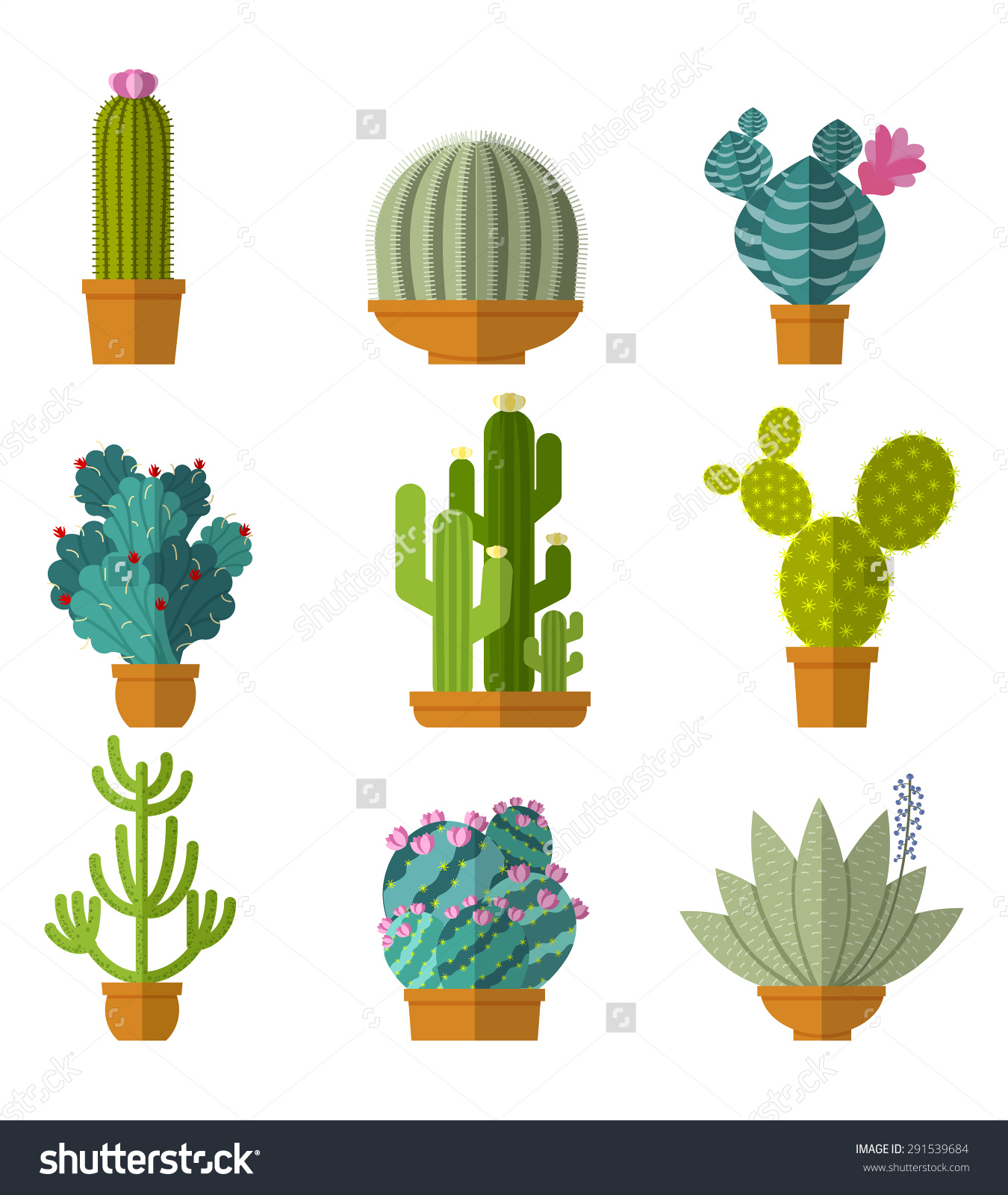Vector Collection Cactus Flat Style Green Stock Vector 291539684.
