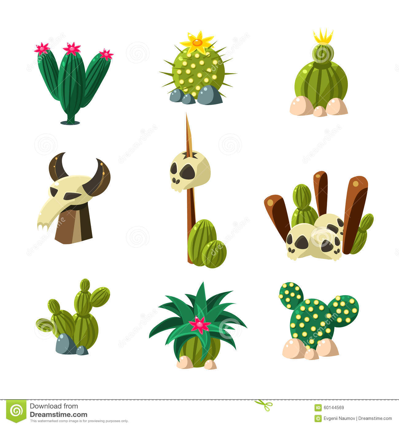 Blossom Cactus And Skull Vector Illustration Set Stock Vector.