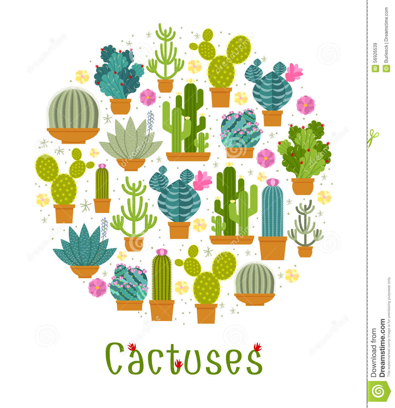 Cactus Label Stock Vector.
