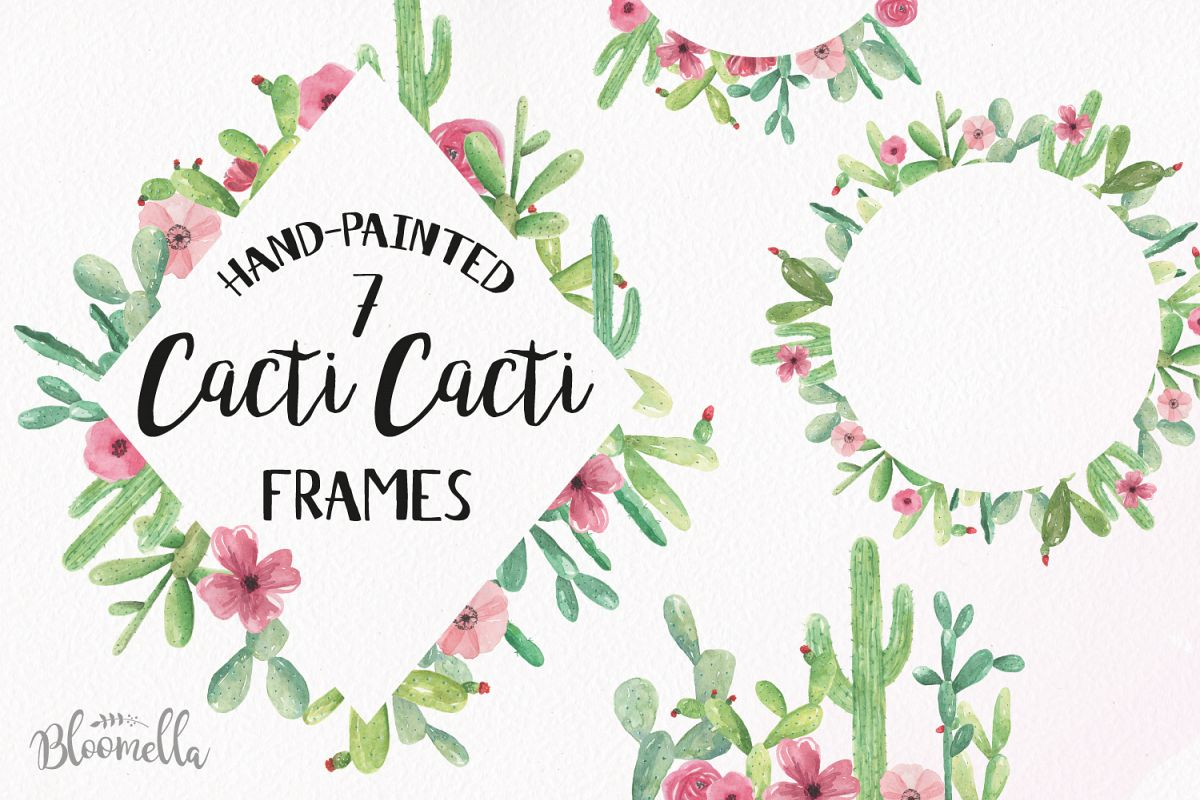 Cactus Watercolor Clipart Frames Border Flowers Cacti Cacti.
