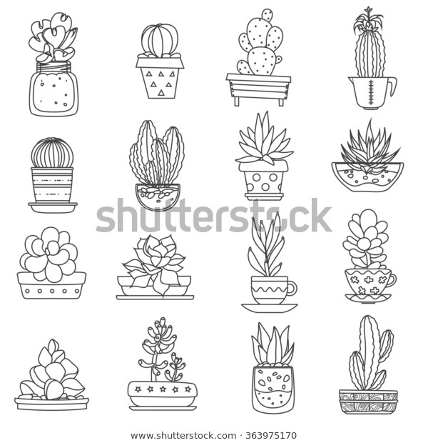 Cactus Line Black White Icons Set Stock Vector (Royalty Free) 363975170.