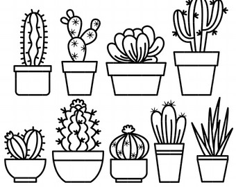 Cactus In The Pot Clipart Black And White.