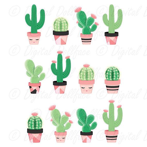 Cute Cactus Clipart, Potted Clip Art, Desert Cactus, Printable.