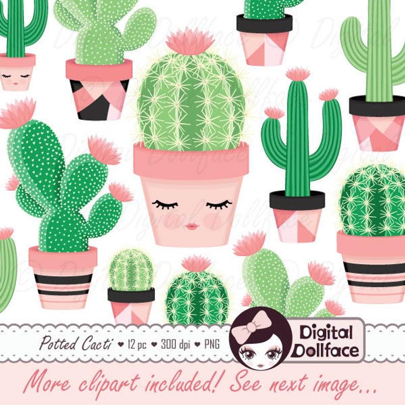 Cute Cactus Clipart, Potted Clip Art, Desert Cactus, Printable Images,  Cacti Graphics Set.