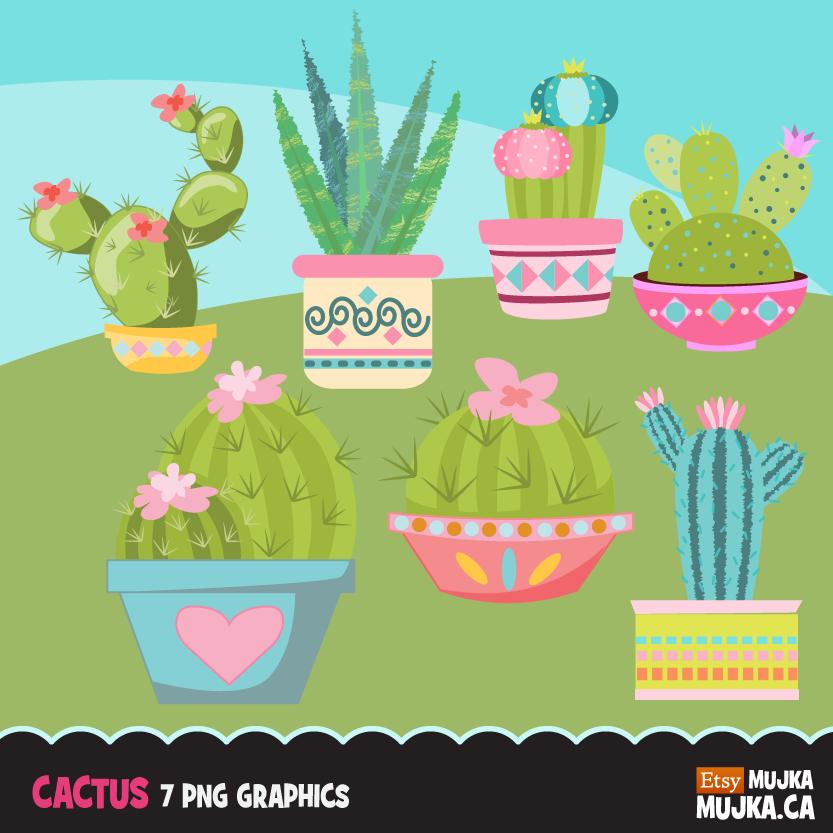 Cactus clipart, Cute cactuses, flowering dessert plants.