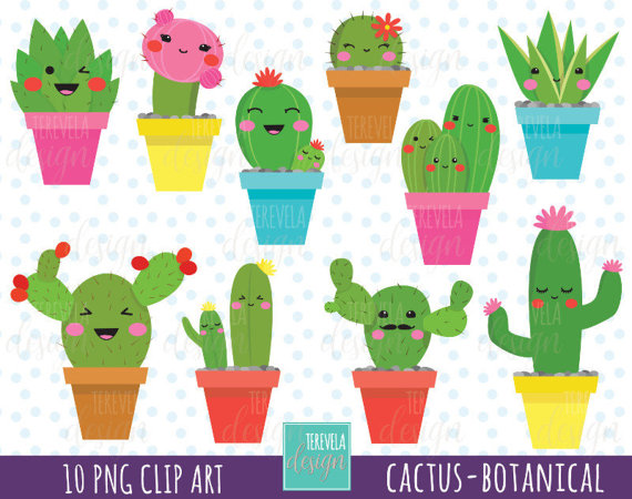 50% SALE CACTUS clipart, kawaii clipart, botanical clipart, cactus.