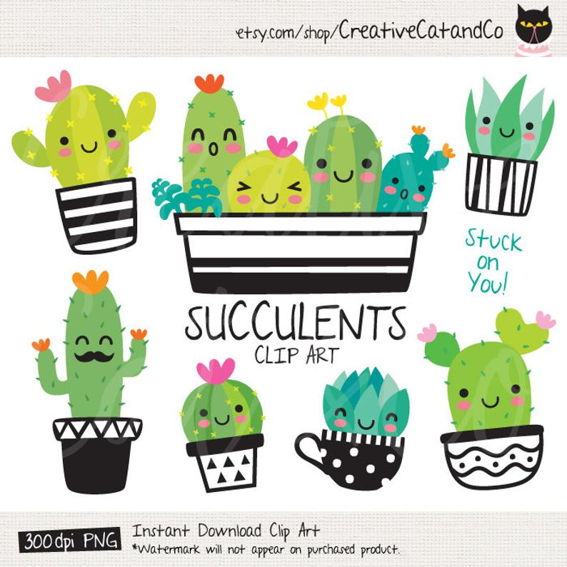 Succulent Clipart Cute Cactus Clipart Cacti Clip Art Cute Succulent with  Face Plant Clipart Desert Summer Plant Clipart Graphic.