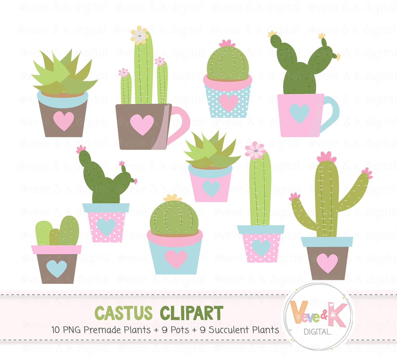 Cactus Clip Art, Cacti Clipart, Cute Cactus Clipart, Succulents Clip Art,  Cactus Graphics, Planner Accessories, Plant Clipart, Cacti.