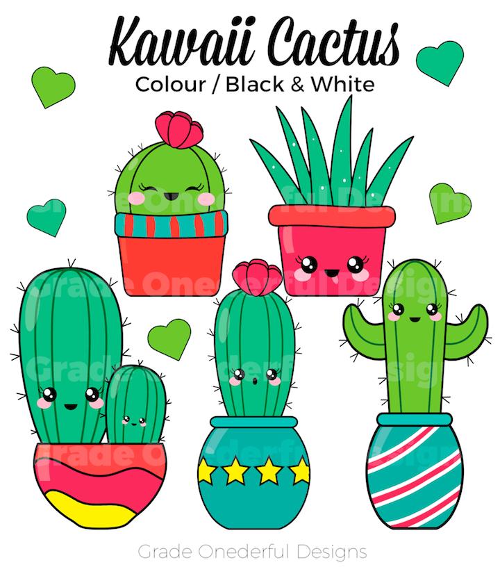 Cute Kawaii Cactus Clipart and Free Cactus Paper.