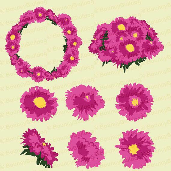Pink Dahlia Flower Clipart set dahlia clipart by BouncyBulldog.