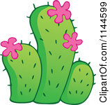 Clipart Illustration of a Potted Cactus Flowering Purple Flowers.