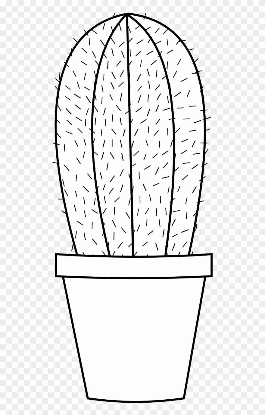 Cactus 16 Black White Line Art Flower Scalable Vector.