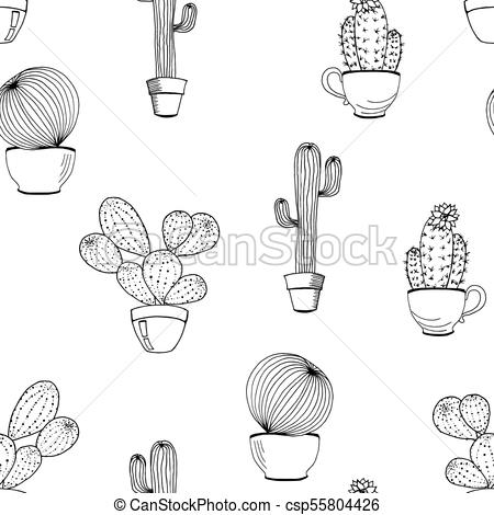Vector cactus flower background. Seamless pattern with cactus in pot.  Cartoon hand drawn cactus. Coloring page book.
