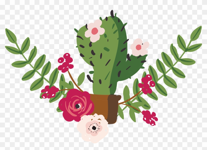 Cactus With Flower Drawing, HD Png Download.