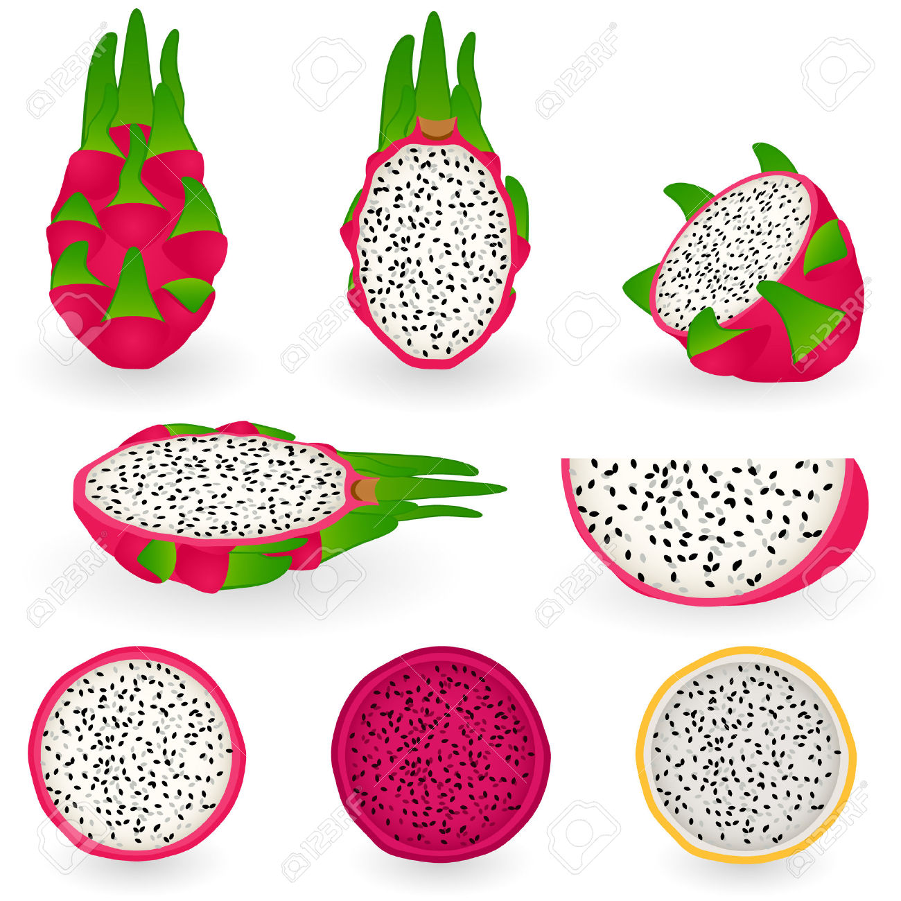 Illustration Of Dragon Fruit Also Known As Pitaya, Strawberry.
