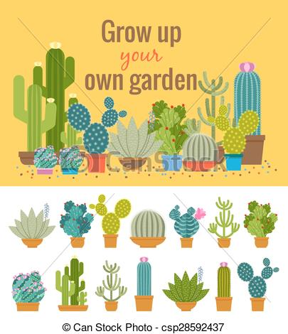 Vectors of Home cactus garden poster. Green plant, flower and.