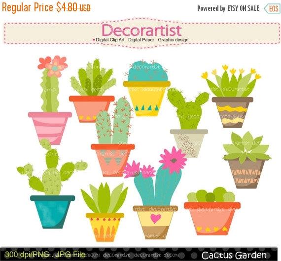 ON SALE cactus clip art cactus garden clip by Decorartistclipart.