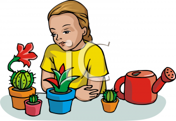 Little Girl Watering Her Cactus Garden.