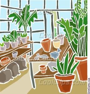 greenhouse plants Vector Clip art.