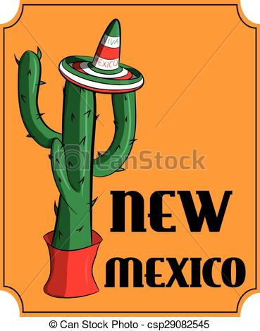 EPS Vector of Poster new Mexico. Mexican sambrero and cactus.