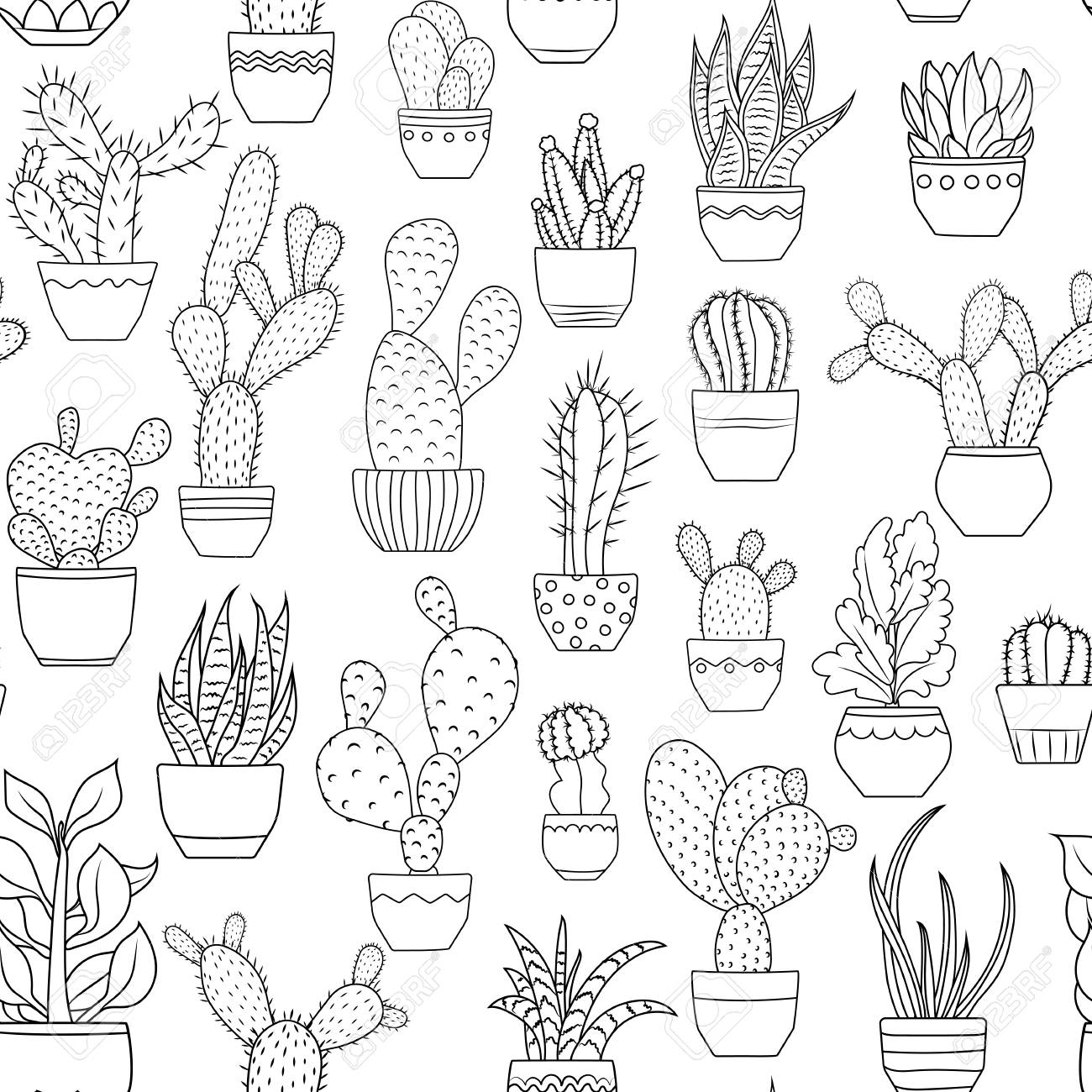 Potted houseplants seamless pattern texture. Exotic cactus succulent...