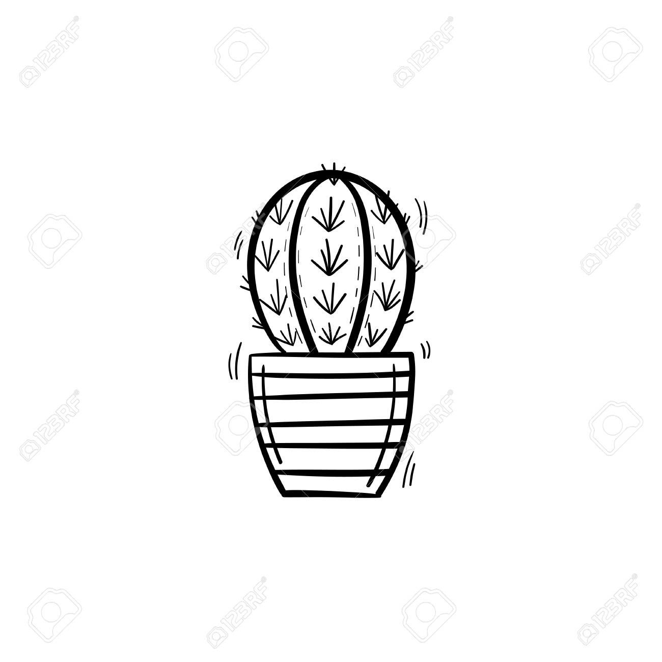 Vector hand drawn cactus outline doodle icon. Decorative potted...