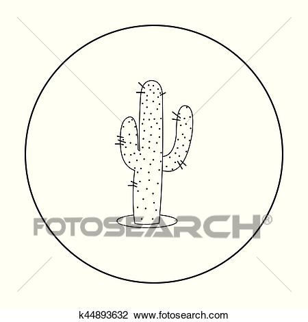 Cactus icon outline. Singe western icon from the wild west outline. Clipart.