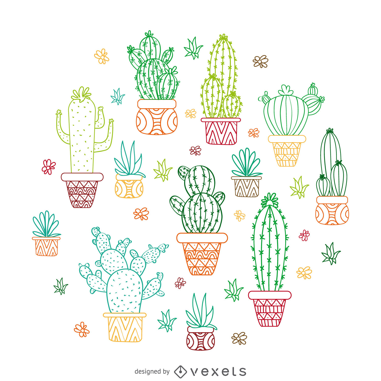 Cactus outline illustration.
