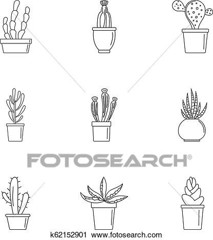 Home cactus plant icon set, outline style Clipart.