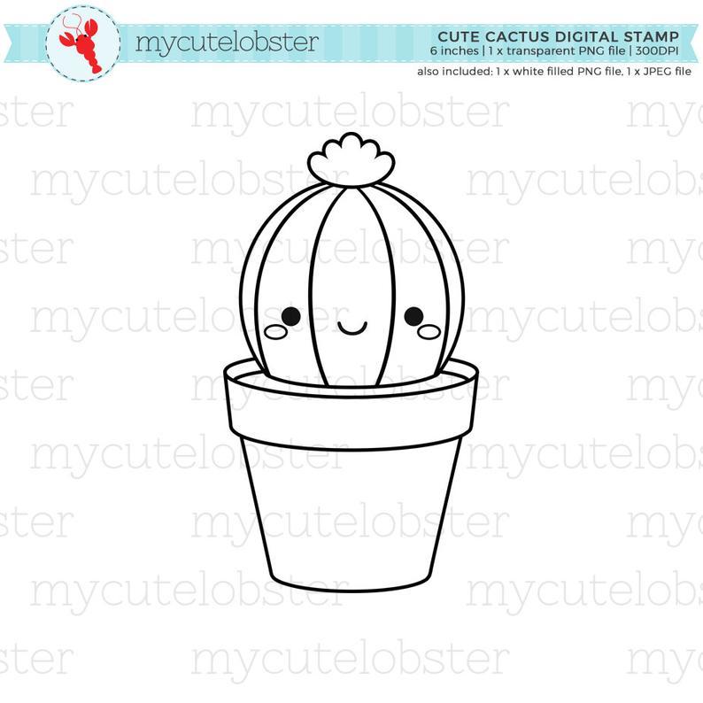 Cute Cactus Digital Stamp Clipart.