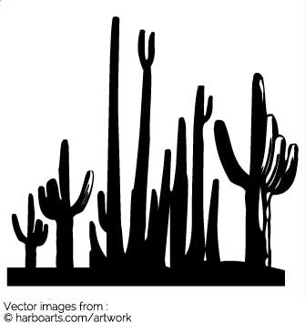 Download : Silhouette of Cactus Desert.