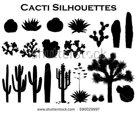Cactus Silhouette Stock Images, Royalty.