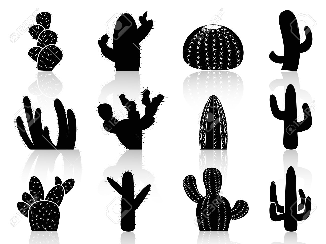 Isolated Cactus Silhouettes From White Background Royalty Free.